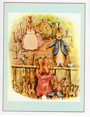 Flopsy Bunnies Over the Fence Note Card