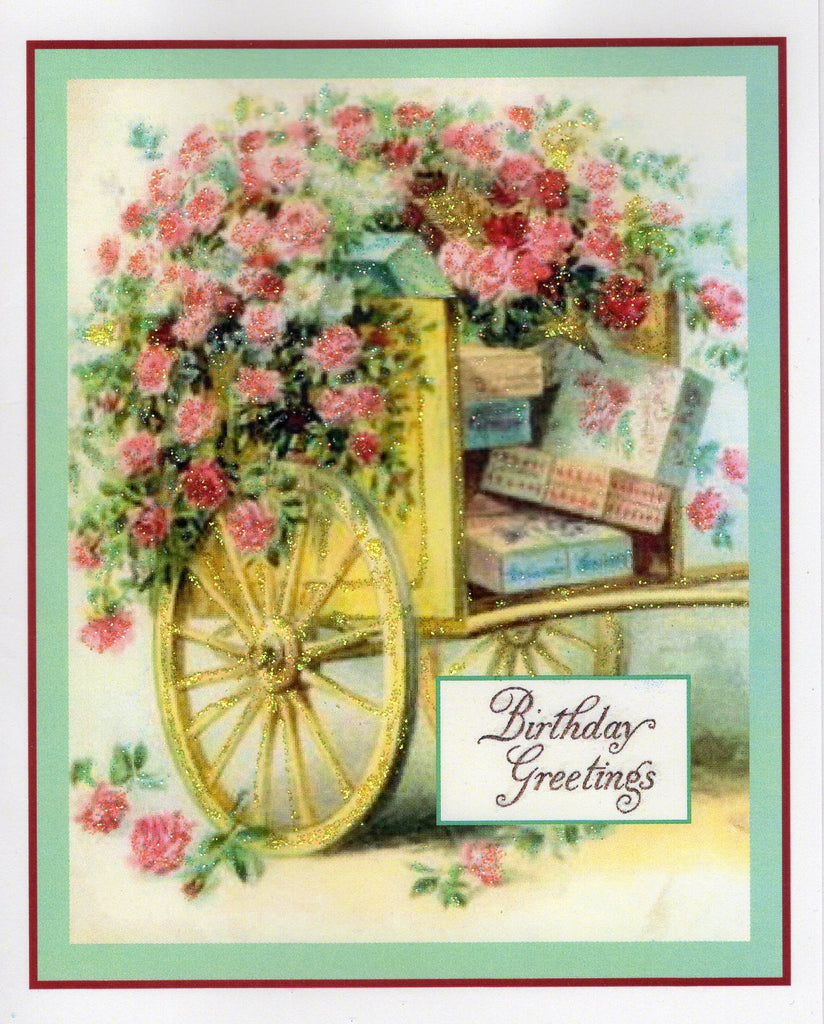 Cart of Roses Birthday Glitter Card