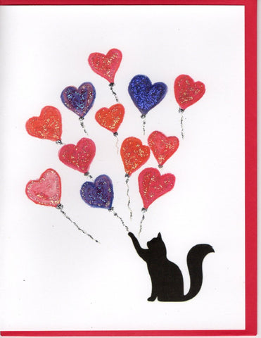 Cat With Heart Balloons Watercolor Glitter Card