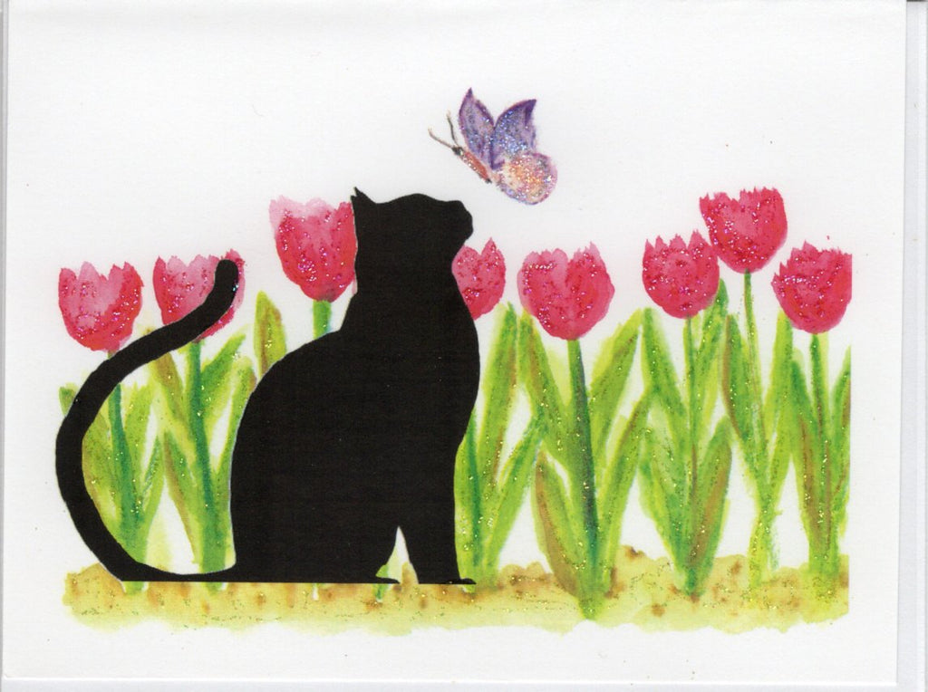Cat Pondering Spring Tulips Watercolor Glitter Card