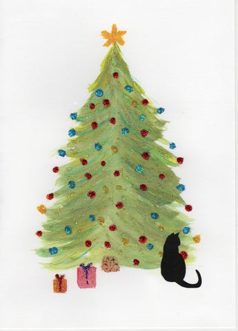 Cat Under Christmas Tree Watercolor Glitter Card