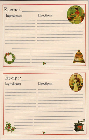 Recipe Cards Package ~ Christmas Holiday