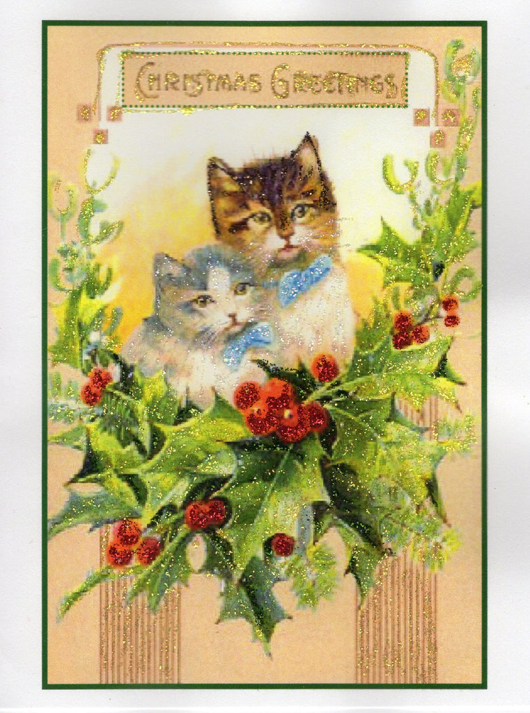 Christmas Greetings Cats in Holly Glitter Card