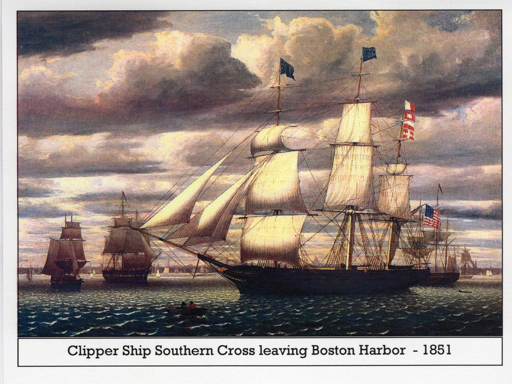 Clipper Ship Southern Cross leaving Boston Harbor ~ 1851 Note Card