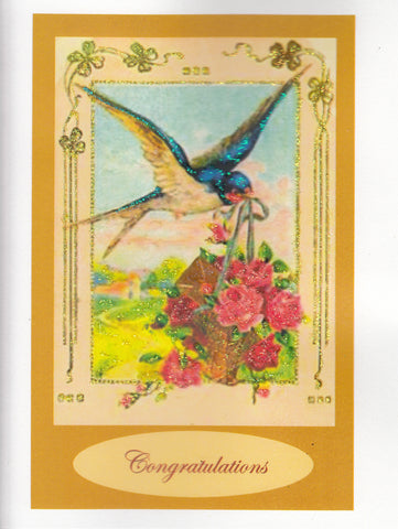 Congratulations ~ Blue Bird in Flight Glitter Card