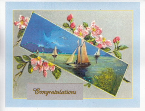 Congratulations ~ Seascape & Pink Flowers Glitter Card