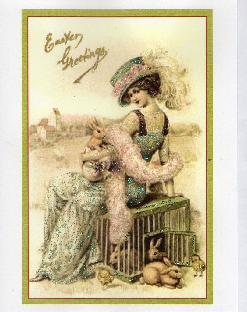 Easter Greetings Edwardian Lady & Bunnies Glitter Card