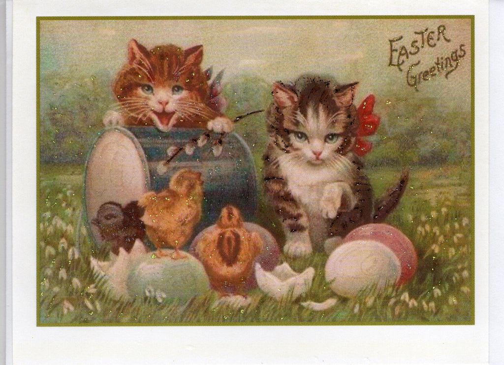 Easter Greetings ~ Kittens & Chicks Glitter Card
