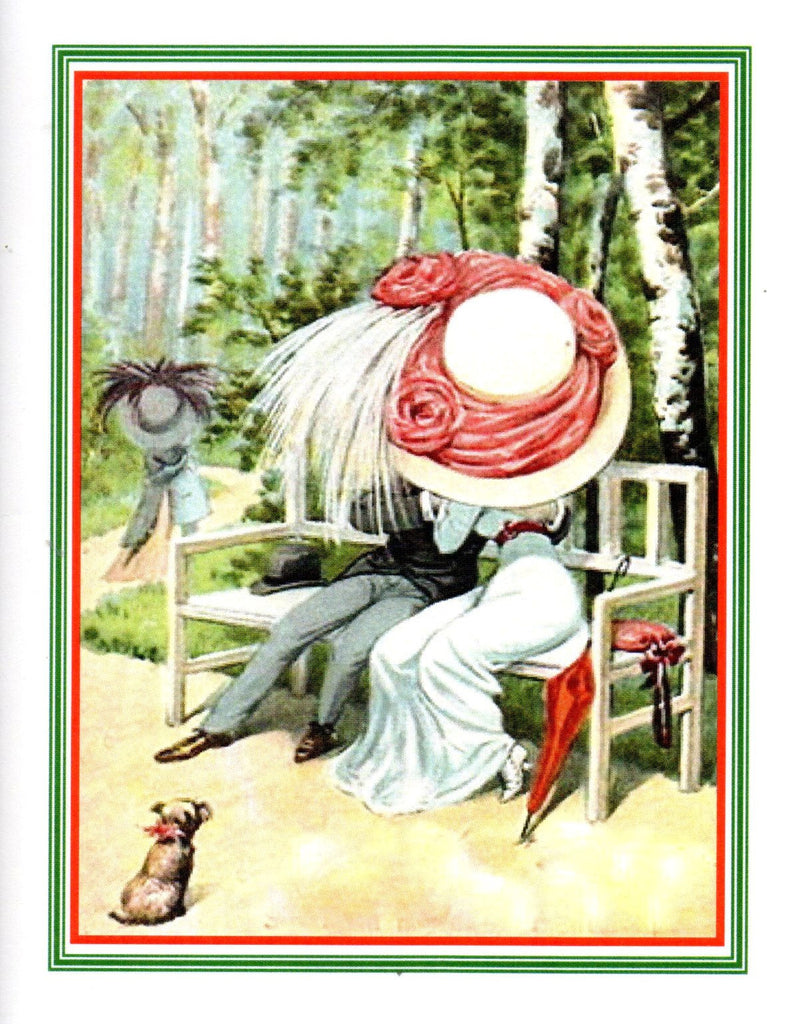 Edwardians Kissing Chapeaux Note Card