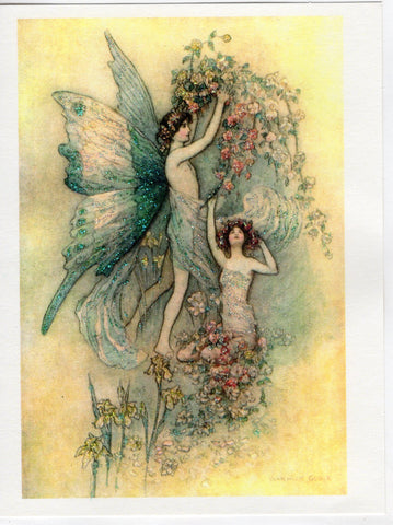 Fairies Among the Roses Glitter Card