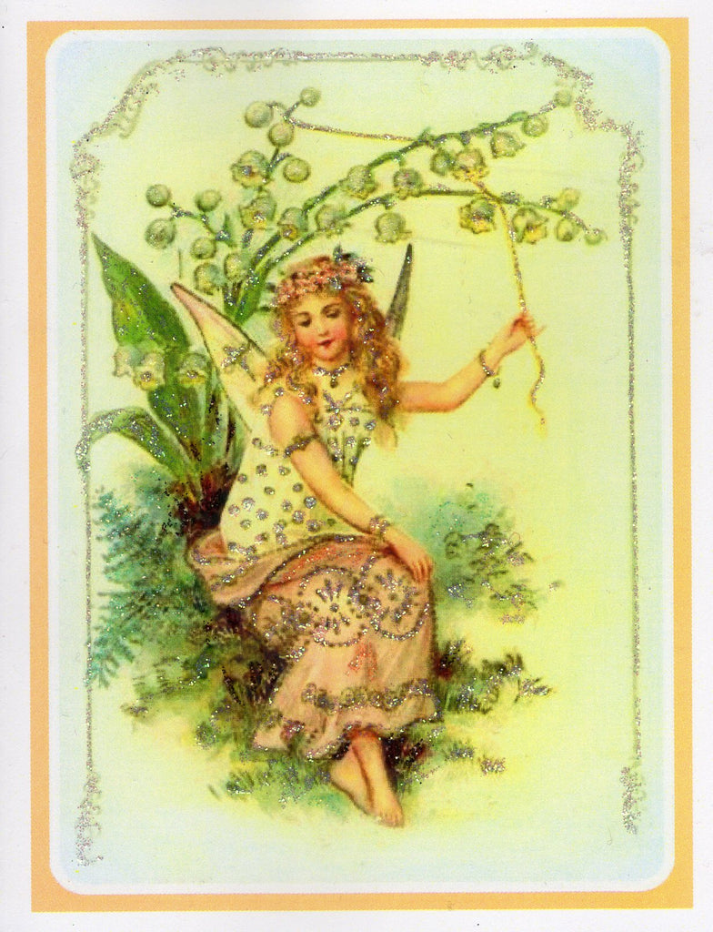Fairy Ringing the Lily Bells Glitter Card
