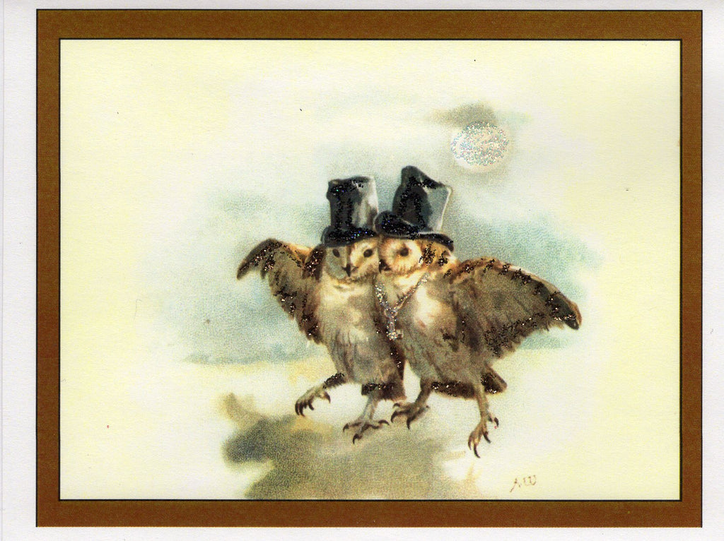 Gentlemen Owls on Moonlit Walk Glitter Card