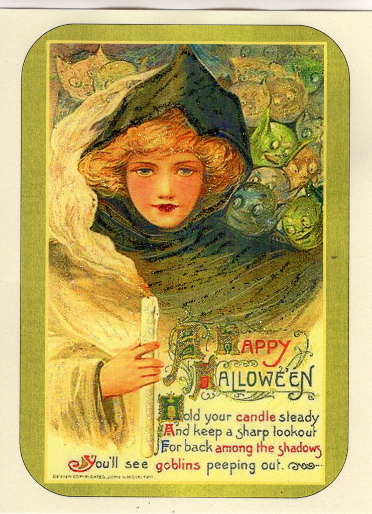 Goblins & Candlelight ~ A Happy Halloween Glitter Card