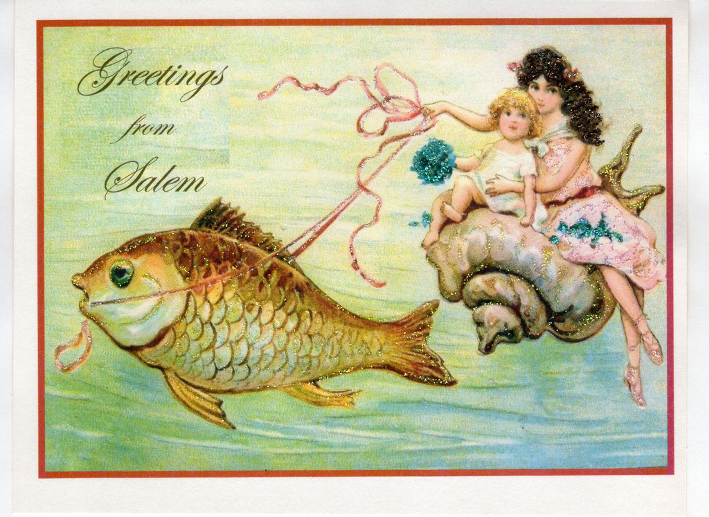 Greetings from Salem Seaside Souvenir Glitter Card