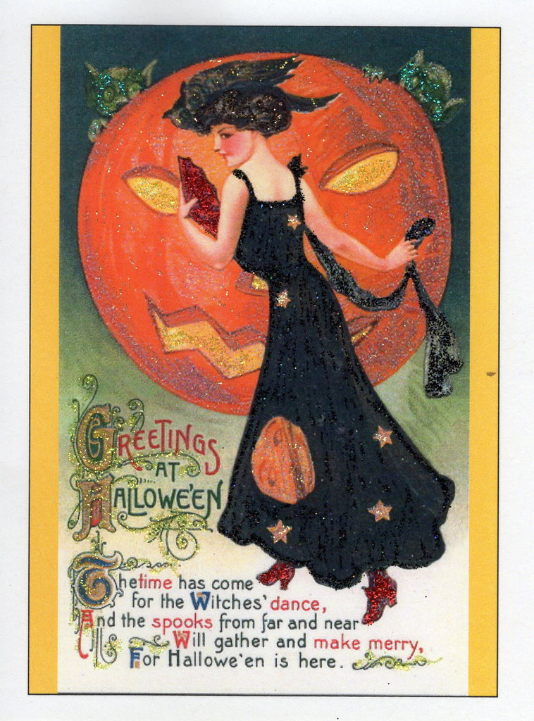 Greetings at Halloween ~ Witches' Dance Glitter Card