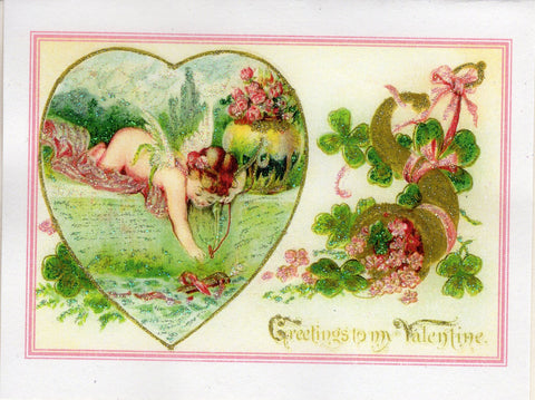 Greetings to My Valentine...Cherub & Clover