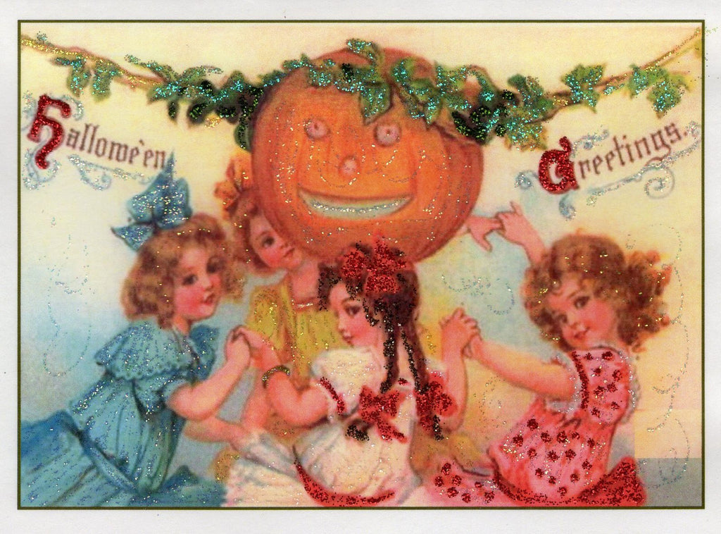 Halloween Greetings ~ Little Women Glitter Card