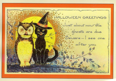 Halloween Greetings...Owl and Black Cat Glitter Card