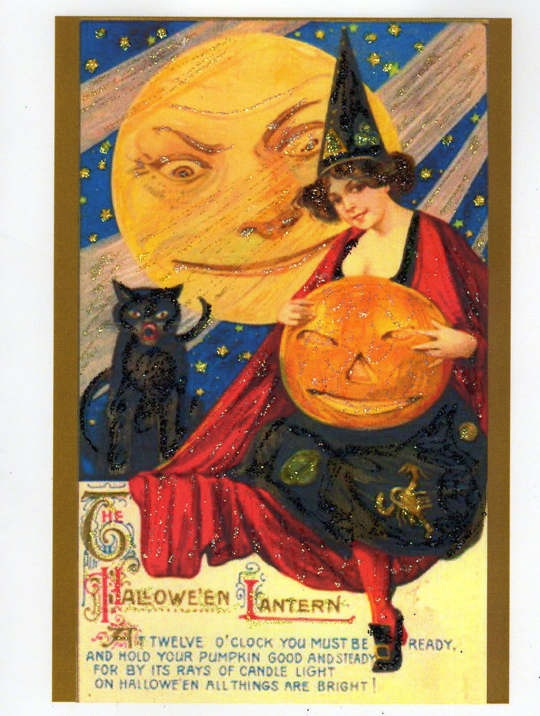 The Halloween Lantern Witch & Moon Glitter Card