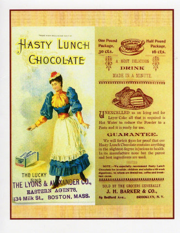 Hasty Lunch Chocolate Ad Note Card