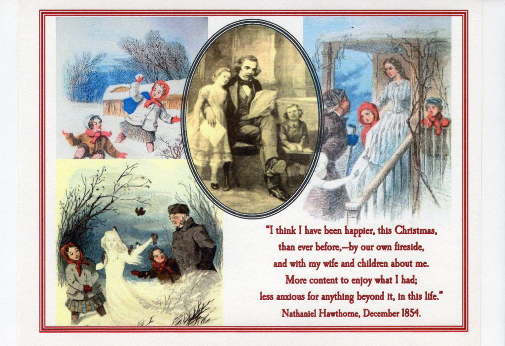 Nathaniel Hawthorne Christmas Collage Note Card