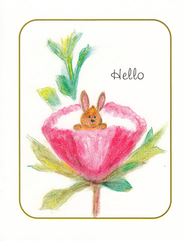 Hello ~ Bunny in Flower Glitter Card