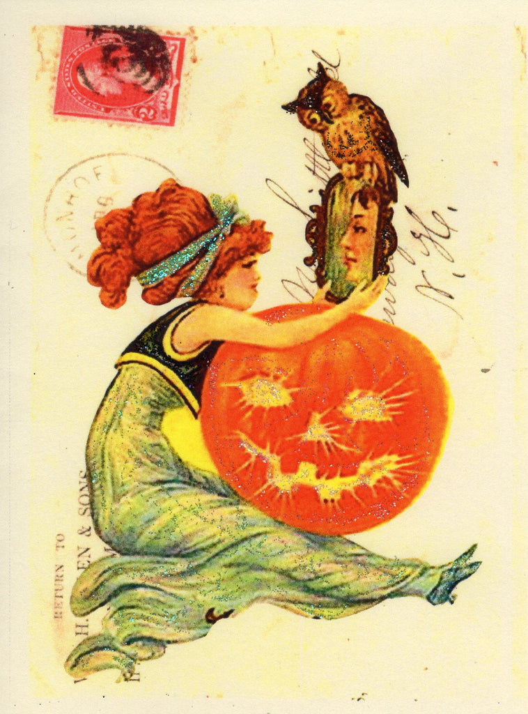 Halloween Greetings ~ Victorian Lady with Owl & Mirror Glitter Card