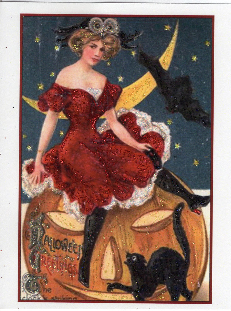 Halloween Greetings...Sassy Red Dress Victorian Lady Glitter Card