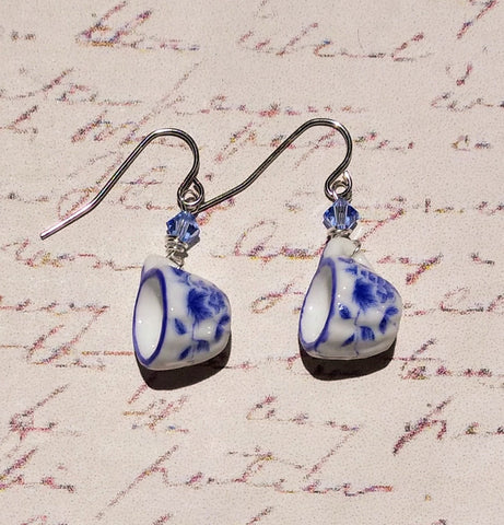 Blue & White Teacup Earrings