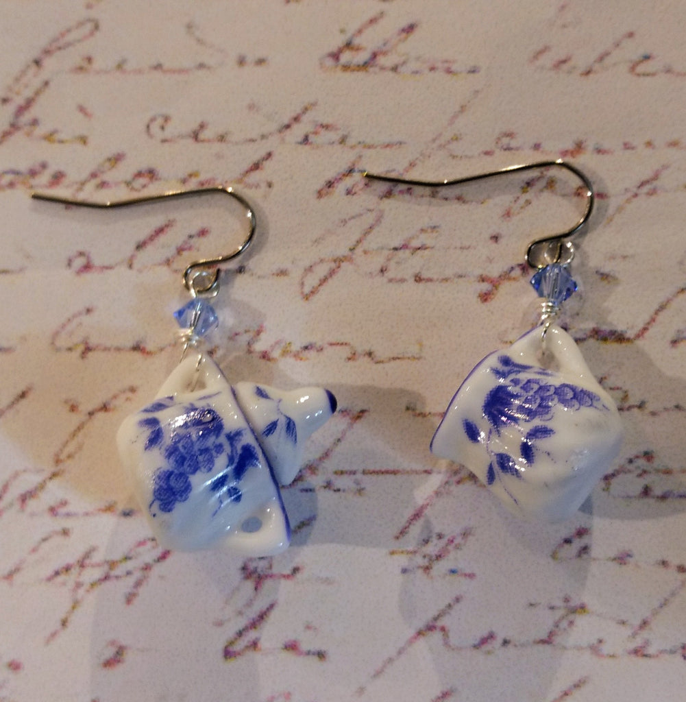 Blue & White Sugar Bowl & Creamer Earrings