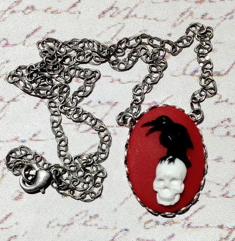 Black Raven on Skull in Crimson Cameo Necklace