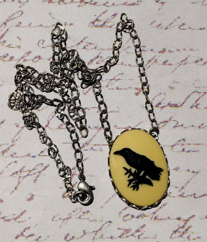 Black Raven Cameo Necklace