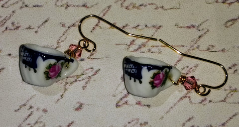 Blue & Pink Rosebud Teacup Earrings
