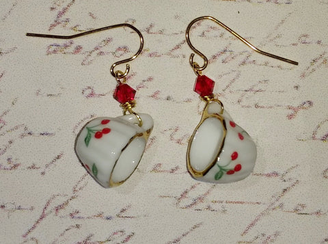Cherries Teacup Earrings
