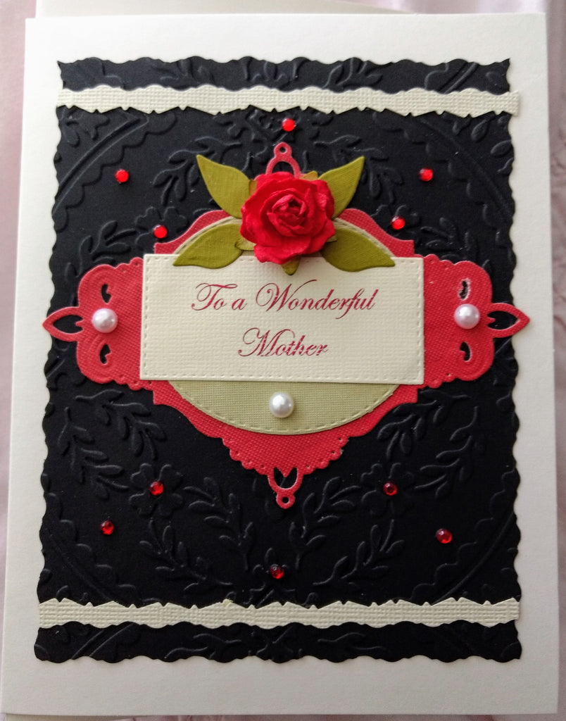 To a Wonderful Mother ~ Black Chic Red Rose Handmade Card