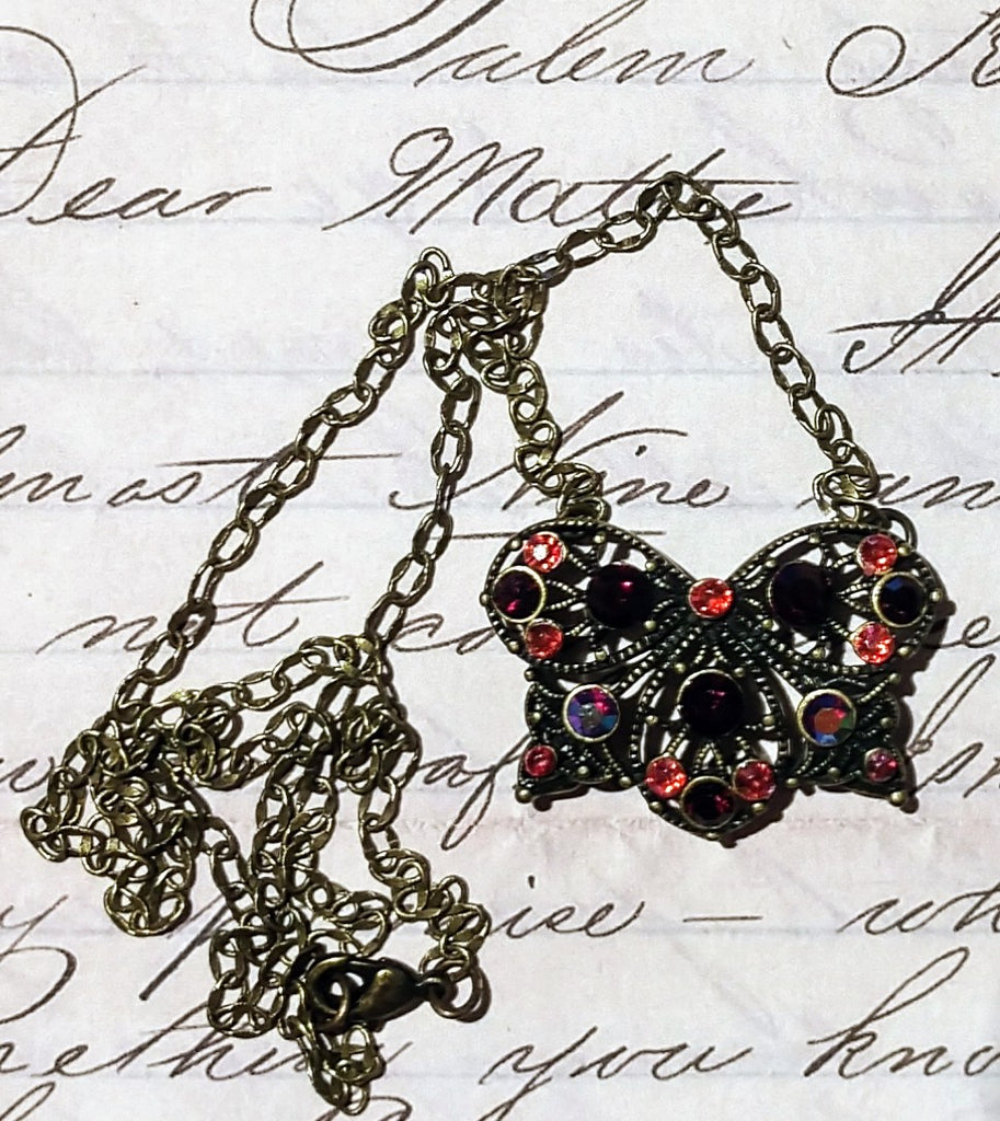 Victorian Crystal Butterfly Brass Pendant Necklace
