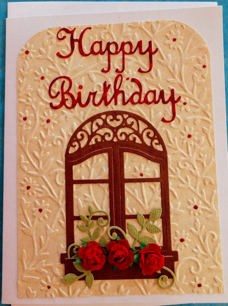 Happy Birthday ~ Window Box of Roses Handmade Card