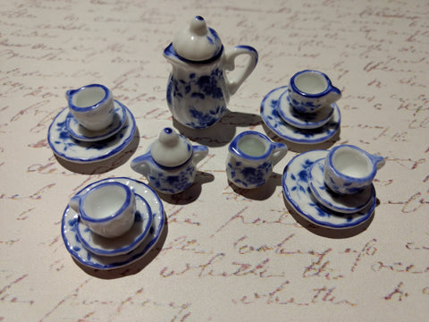 Blue and White Mini Tea Service Set