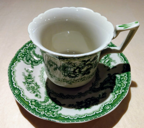 Green & White Cup and Saucer