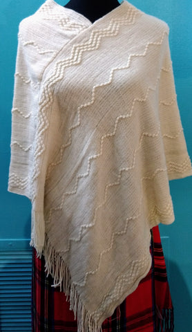 Beige Design Sweater Poncho