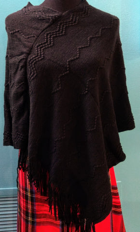 Black Design Sweater Poncho