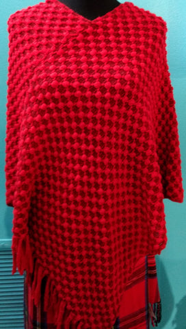 Red Design Sweater Poncho