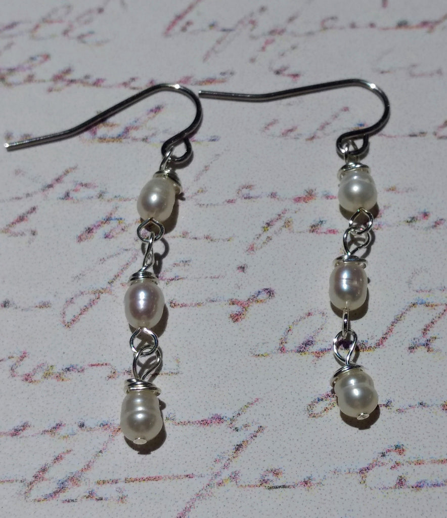 Pearls in Threes Drop Earrings