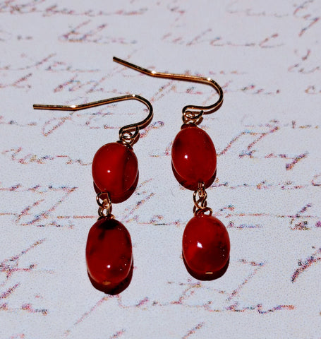 Carnelian Talisman Double Drop Earrings