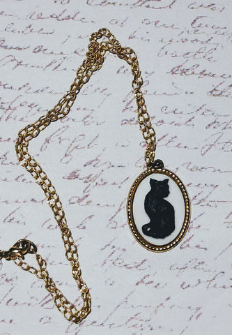 Black Cat Cameo Necklace