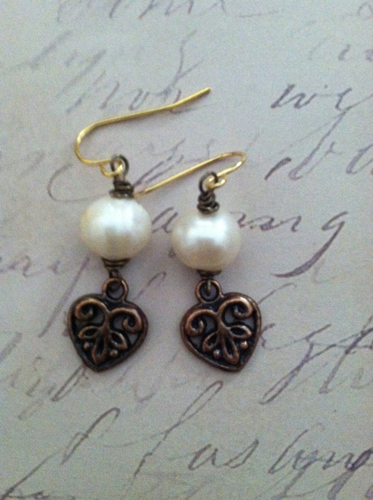 Pearls w/Copper Hearts Earrings