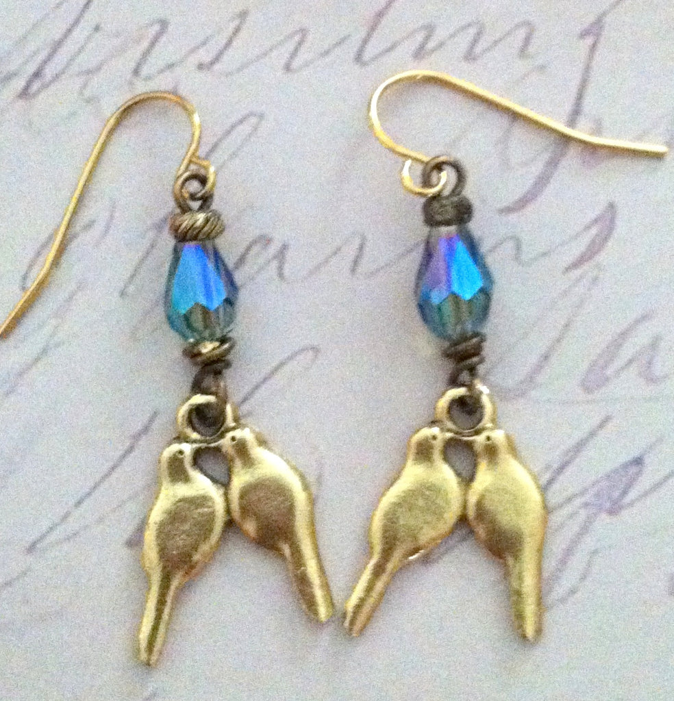 Love Bird Crystal Drop Earrings