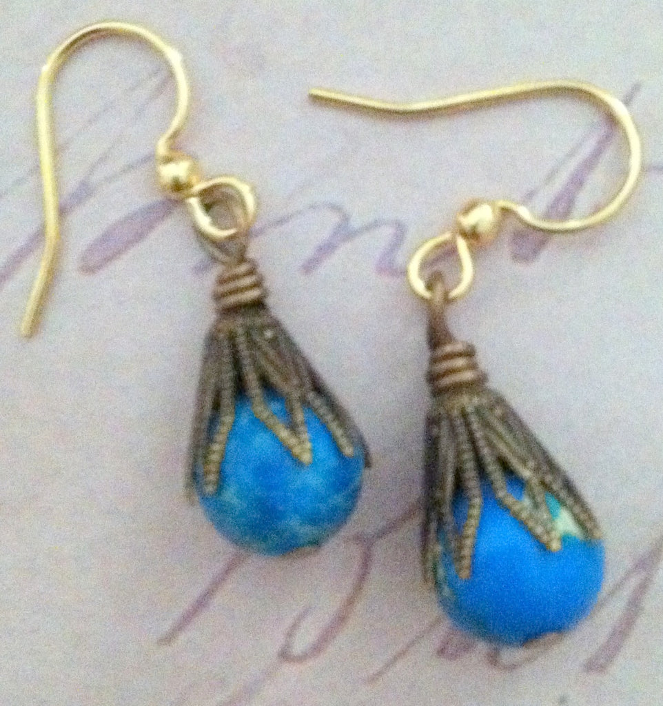 Art Deco Blue Drop Earrings