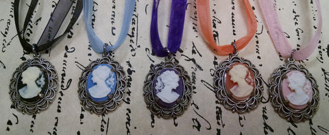 Antique Silver Cameo Ribbon Necklace