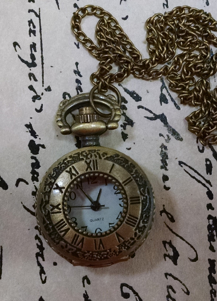 Mini Roman Numeral Pocket Watch Necklace